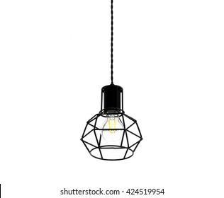 Modern style light bulb lamp on white background.