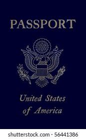 A modern style US passport with emblem