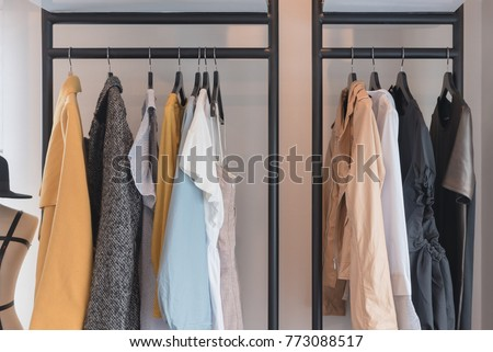 Modern Style Wardrobe Clothes Hanging On Stock Photo Edit Now Simple Wardrobe Interior Designs Style