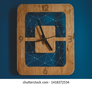 Modern style wooden handmade wall clock with transparent background. Minima design and innovation style