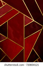 Modern and stylish abstract design poster with golden lines and red geometric pattern.