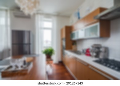 Modern stylish apartment interior themed abstract blur background with bokeh