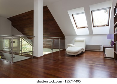 Modern stylish attic, mezzanine with place for relaxing