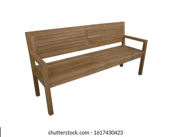 Modern Stylish Bench for Home Interior and Garden Outdoor Furniture made from Teak Wood in Isolated Background
