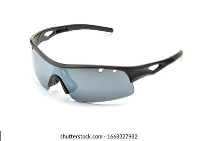 Modern stylish black sports bike sun glasses with smoky grey lenses isolated on white background