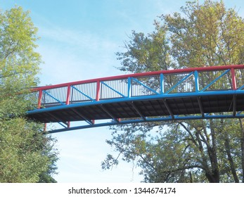 modern and stylish bridge, part of the so-called  Nordbahntrasse, which is a popular cycling route in Wuppertal North-Rhine Westphalia / Germany in April 2018
