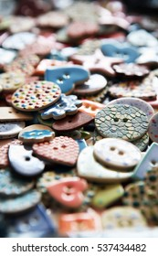 Modern stylish buttons for dress making and sewing crafts.