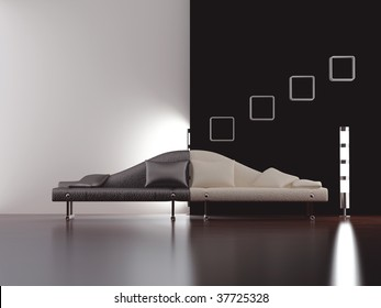 Modern stylish couch to face a blank white and black wall - front view