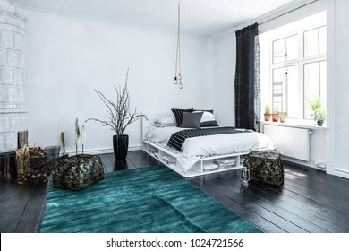 Modern stylish high key airy bedroom interior with black and white decor, a designer storage bed and blue rug arranged in the corner alongside a bright window. 3d rendering.