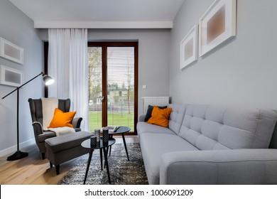 Modern stylish interior design - living room with armchair