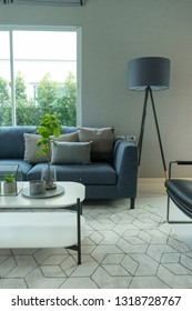Modern and stylish living room, blue sofa and grey pillow with coffee table and floor lamp.