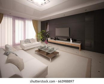 Modern stylish living room with comfortable furniture and dark fashionable background, 3d rendering.