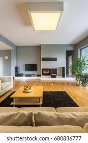 Modern and stylish living room with small,table