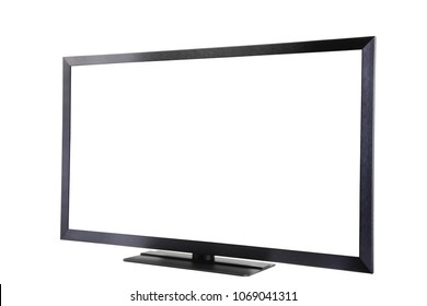 Modern stylish TV, screen is isolated for text or image, copy space, white background