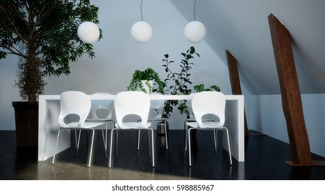 Modern stylish white dining suite with simple table and molded chairs in the corner of an attic or loft conversion with sloping ceiling a wood beams. 3d rendering.
