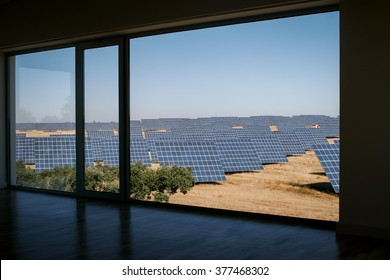 Modern sun energy farm solar panels, for eco and nature renewable prodution.