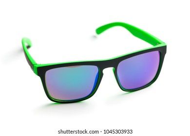 The modern sunglasses isolated on white background.