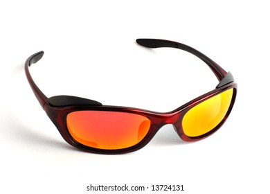 Modern sunglasses with polarized lenses. Object isolated on a white background.
