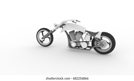 Modern super sports bike - 3D Illustration