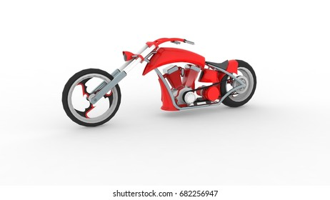 Modern Super Sports Bike   3D Illustration