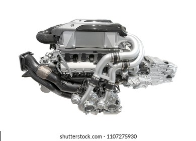 Modern Super Sports Car Engine - 16 Cylinder - Isolated on white background, without shadow