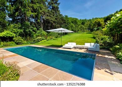 Modern swimming pool in garden