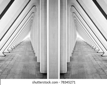 Modern symmetric tunnel in futuristic interior with concrete arches in perspective