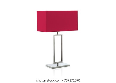 Modern table lamp with small red lampshade isolated