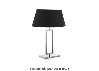 Modern table lamp with small salmon lampshade isolated