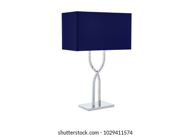 Modern table lamp with small white lampshade isolated