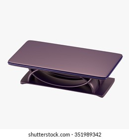 Modern table with purple tabletop 3d render