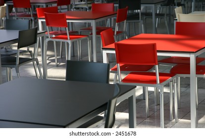 Modern tables and chairs in a cafeteria