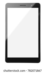 Modern tablet computer isolated on white background. Copy space.