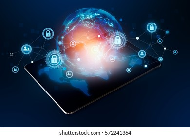 Modern tablet connection world Social Cyber Security