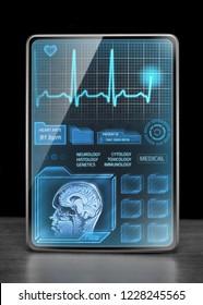 Modern tablet displaying medical data