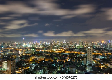 Modern and tall building in city with expressway at Bangkok, Thailand