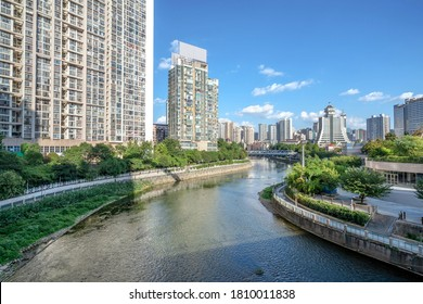Modern tall buildings and bridge, Guiyang city landscape, China.