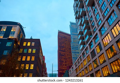 Modern tall buildings in The Hague, the Netherlands.