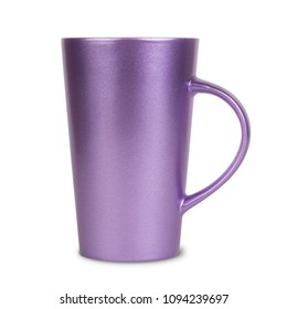 Modern tall mug isolated on white background, front view