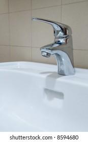 Modern tap in the bathroom