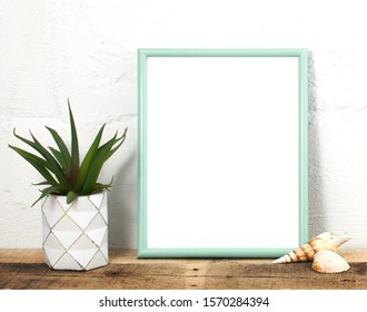 Modern Teal Blank Frame Mockup