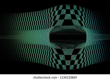 Modern teal and pink abstract checkered strip / hole desig (3D illustration, black background)
