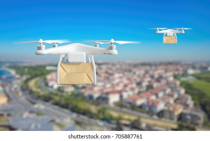Modern technological delivery innovation - drone fast delivery concept, two multicopters flying with cardboard box above city