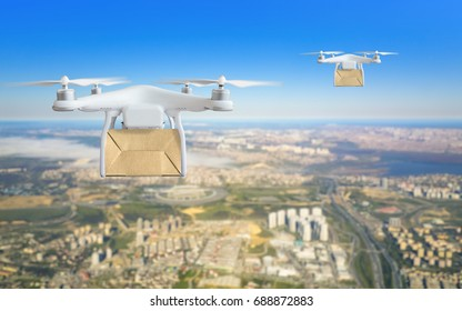 Modern technological shipment innovation - drone fast delivery concept, two multicopters flying with cardboard box above city