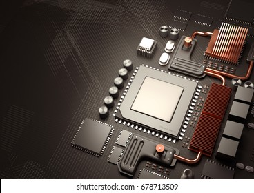 Modern Technology background.A close look at a computer CPU on a motherboard for processing data. 3D illustration render.
