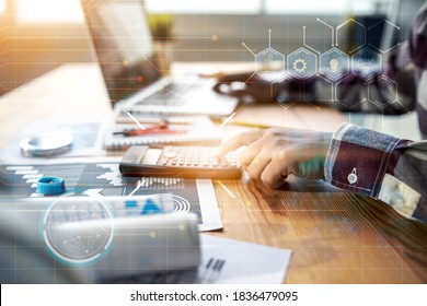 Modern technology engineer architecture working on structure blueprint using computer laptop calculator planning calculating designing building construction inspective workplace architectural project