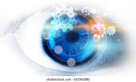 Modern technology screen on human eye. Futuristic modern concept