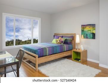 Modern teenager / kids bedroom with rug and working desk.