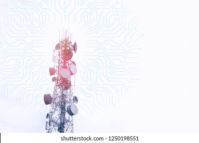 Modern telecommunication (5G) tower and connected dots with copy space on white background.Digital wireless connection system.Cellular telephone network.Development communication.Antenna