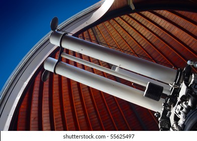 Modern telescope in astronomic observatory.